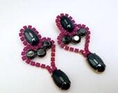 Neon Purple Vintage Rhinestone Earrings