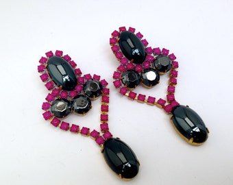 Neon Purple Vintage Rhinestone Earrings