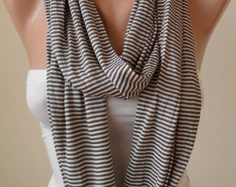 Trendy - Valentines Day - Brown Striped Infinty - Circle -  Loop Scarf - Combed Cotton Fabric