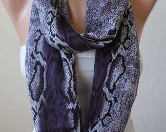 Mother's Day Gift - Lilac Snake Skin - Circle -  Loop Scarf - Chiffon Fabric