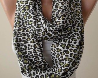 Mother's Day - Green Leopard Scarf - Soft Cotton Infinity Scarf