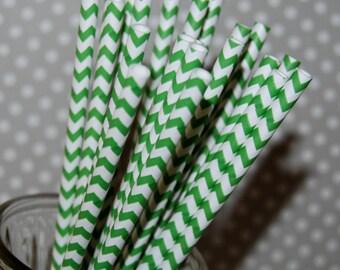 Paper Straws Kelly Green Chevron Straws 25 paper straws & Flags - chevron stripe drinking straws zig zag cake pop sticks vintage straws