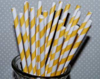 paper straws 25 Yellow stripe straws barber striped paper drinking straws - with FREE  Flags / Pendants vintage straws party straws