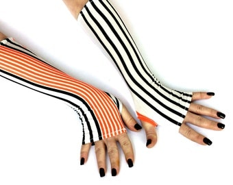 Sale - Black and Orange stripes  Fingerless gloves Stripes Soft Cotton Yoga  Belly Dance Fusion Light Goth Cycling