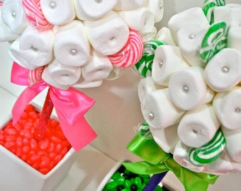White Green or Pink Marshmallow  Lollipop Candy Land Centerpiece Topiary Tree, Candy Buffet Decor, Wedding, Mitzvah,