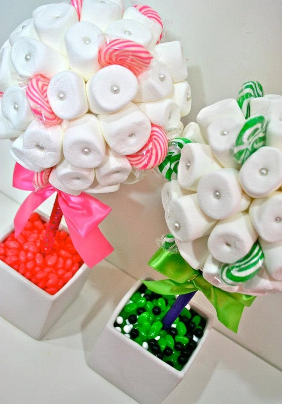 White green or pink marshmallow lollipop by