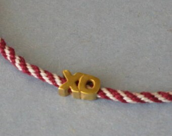 Hugs and Kisses anklet - vermeil on kumihimo braid in red and ivory