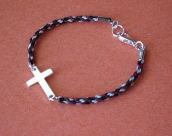Sideways cross bracelet - sterling silver on kumihimo braid - small size