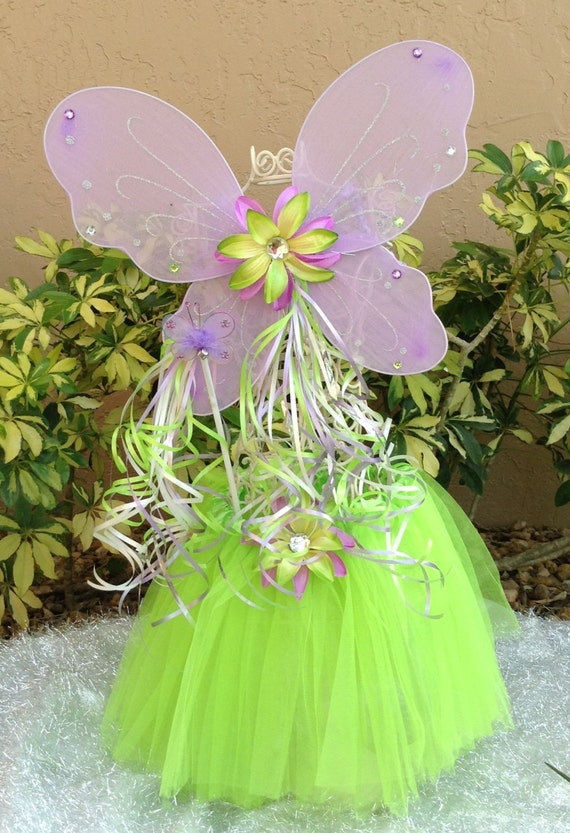 3 piece Tinkerbell purple and green tutu, wings and wand fairy princess set