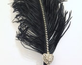 Large Ostrich feather  Pen (Black with heart shape brooch) / Wedding Signing Pen / Guest Book Pen / Wedding Reception Accessories
