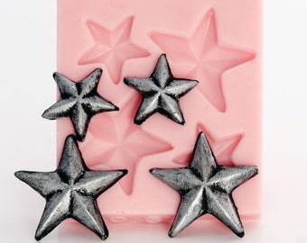Silicone star mold - primitive star mould easy to use with resin, sculpey, fimo, clays, metal clays, create jewelry and crafts   (902)