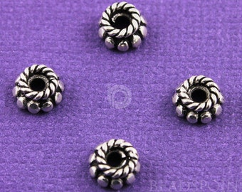 Bali Sterling Silver 7mm Bead Cap w/ Rope Top and Beaded Edge Detail, Oxidized Finish, Lovely Accent for Beaded Jewelry, (6 Pieces) BA5291