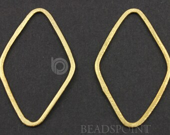 24K Gold Over Sterling Silver, Brushed Vermeil Diamond shape component 35x52mm, 1 Pair (VM/6593/35x52)