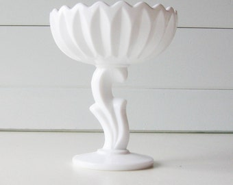 Milk Glass Compote, Lotus Blossom, Milk Glass Bowl, Wedding Tablesetting,  Indiana Glass