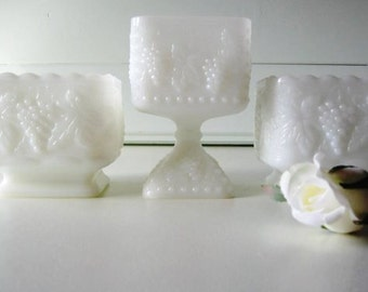 Milk Glass Planter, Compote, Wedding Tablesetting, Set of three
