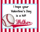 Children's Personalized  Valentines  Day Cards , baseball- printable-digital file