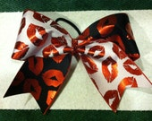 """3"""", 3 inch ribbon cheer cheerleader bow- red and black LIPS metallic color red valentines day xo"""