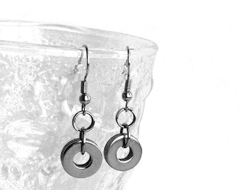 Silver Circle Dangle Earrings, Stainless Steel Jewelry, Casual 316L French Hook