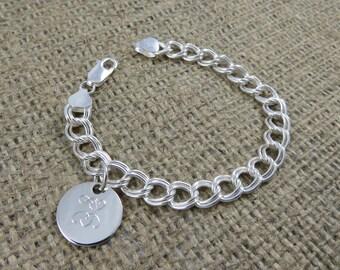Monogram Bracelet - Monogrammed - Sterling Silver Initial Bracelet - Personalized Charm Bracelet - Bridesmaids Gift - Mothers Bracelet