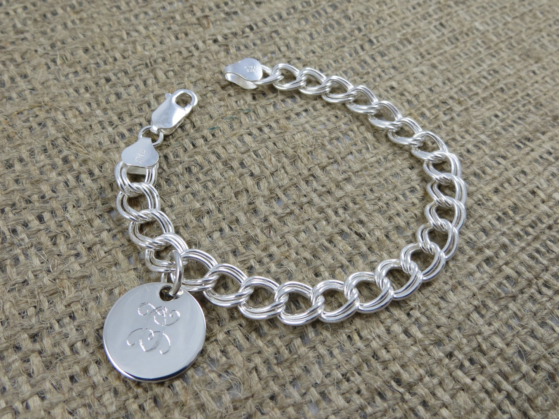 monogram bracelet monogrammed sterling silver initial
