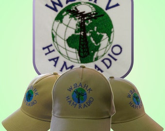 HAM RADIO Hat  -  Custom EMBROIDERED with World and Callsign or Name  H2