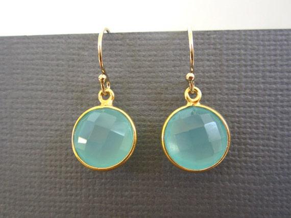 Round Aqua Chalcedony, Bezel earrings-gold bezel, Gemstone earrings, Dainty Earrings, Blue Chalcedony.