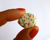 Mini Porcelain Jazzie Brooch, Lapel Pin with Hundreds and Thousands Cake Sprinkles