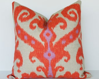 Decorative Pillow 16x16''  red ikat pillow  ethnic Throw Pillow accent pillow sofa pillow toss pillow