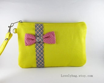 SUPER SALE - Yellow with Little Bow Clutch - iPhone 5 Wristlet, iPhone Wallet, Cell Phone Wristlet,Cosmetic Bag,Zipper Pouch - Made To Order