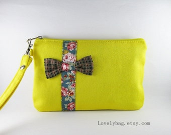 SUPER SALE - Yellow with Little Bow Clutch - iPhone 5 Purse, Cell Phone Wristlet, Cosmetic Bag, Camera Bag, Zipper Pouch - Made To Order