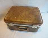 Vintage Brown Vinyl Luggage  Vintage Brown Faux Leather Suitcase  Over nite luggage