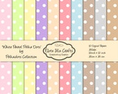 White Pastel Polka Dots-10 Printable Digital Papers-12x12inch-300 dpi-INSTANT DOWNLOAD