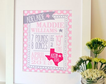 Baby girl stats print 8x10 New baby gift Baby girl present Baby girl nursery decor Baby announcement art Customized all about baby print