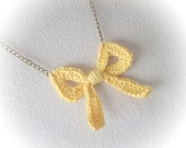 Yellow Crochet Bow Necklace- hand crochet tie bow on antique bronze chain-