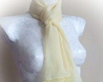 Yellow chiffon fabric scarf with crochet and sequins
