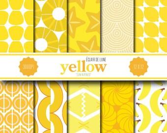 Yellow Digital Scrapbook Paper Food Dots Stripes