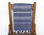 Turkish Beach Towel MIDNIGHT PESHTEMAL Handwoven Cotton Turkish Bath Towel Fouta Sarong Shawl Beach Wrap Turkish Towel Pareo Navy Blue White - CottonCocoon