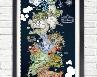 Game of Thrones - Westeros Map - 19x13 Poster
