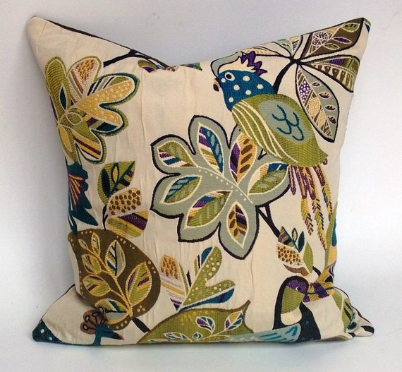 SALE! Bird Pattern Pillow Cover 20 x 20 Blue Green Yellow Purple Black, Backed With Brown Taupe