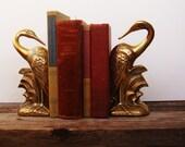 Vintage Brass Swan Book Ends
