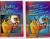 Thank You cards, card set of 8, pets, puppy dogs, bird