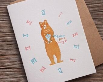Bear Hug - Letterpress Valentine Card - Time for a hug