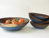 Wooden Salad Bowl Set of 5, Blue, Father's Day, Summer Party, Picnic,Wedding Gift, WALNUT WOOD