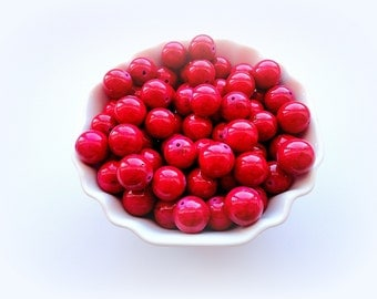 10 Pink Glass Beads, 12 mm Hot Pink Beads, Round Glass Beads, bright fuchsia color, supplies