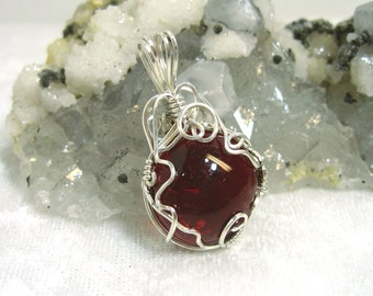 Red Pendant Glass Button Solid Sterling Silver 935 Wire Wrapped in Argentium Anti Tarnish wire