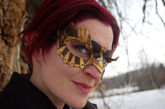 Ready To Ship -- SteamOwlet Leather Steampunk Owl Cosplay Mask