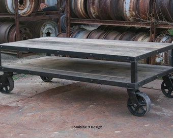 Vintage Industrial Coffee Table With Wheels. Rustic Coffee Table With  Casters. Modern Farmhouse. Part 45