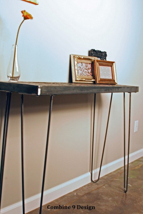 Console Table - Steel & reclaimed wood from barge destroyed  by Japan's Tsunami. Hairpin legs, vintage, mid century modern. Sofa. Industrial