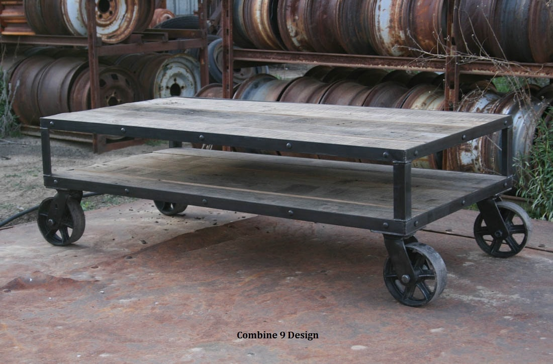 Coffee Table Vintage Industrial Rustic Mid Century Modern