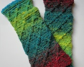 Handknit Fingerless Mittens,Fingerless Gloves in Noro Yarn ,Colorful, Multicolor,Turquoise,Lime Green,Red- READY TO SHIP